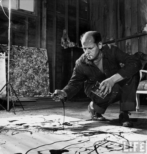 Jackson Pollock works in his Long Island studio, 1949. Photograph by Martha Holmes for Life © Martha Holmes – Time & Life Pictures/Getty Images