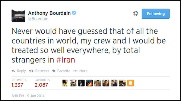 Anthony Bourdain Tweet on Iran