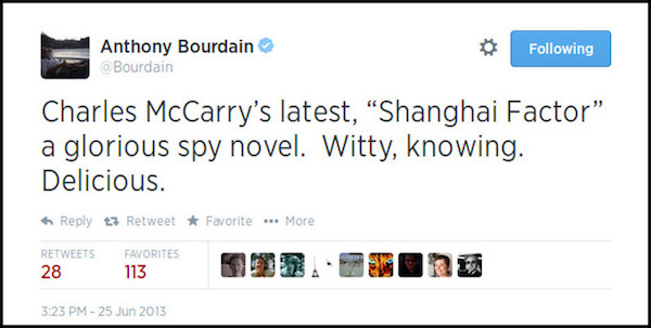 Anthony Bourdain Tweet on Spy Novel